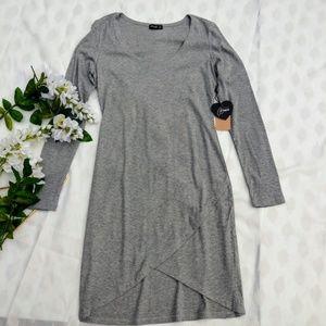 Popular Basics Dress Gray long sleeve NWT